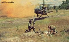 Troopies. Possibly a med-evac with an Alouette III chopper? There's clearly a man down.