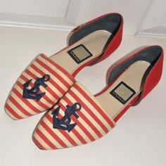 Nautical Red Striped Shoes