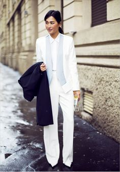 Well suited with a basic white Equipment shirt. #fashionweek #streetstyle