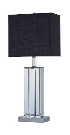 Park Madison Lighting PMT1203 2334Inch Tall Park Madsion Lighting Beveled Glass Mirror Table Lamp with Hand Crafted Rectangular Black Shade * You can get more details by clicking on the image.