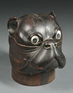 Hand Carved Hardwood Humidor in the Form of a Bulldog Head, 19th century♥♥♥