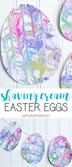 A fun Easter Egg craft using marbled paper made with shaving cream! The kids will have so much fun getting a little messy and creating some Easter decorations! #eastercraftskids