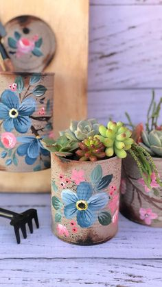 Tin Can Crafts, Diy And Crafts, Cement Pots, Paper Cones, Decoupage, Painted Pots, Cactus, Gisele, Canning