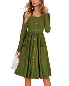 8eacaaa07a4 KILIG Women's Dresses Long Sleeve Casual Button Down Swing Midi Dress  Pockets(Army, S