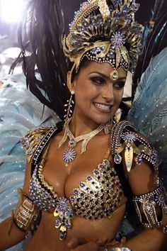 Samba costume-- for the black feathers. (black, gold, silver)