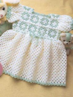 Free Crochet Granny Yoke Baby Dress Pattern. O hook Baby yarn
