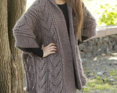 Winter WOOL Knit Long Lace Cardigan , COTTON Sweater , Pure Wool Poncho , Cape , Wrap , Jacket Coat for Woman