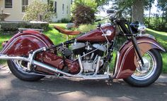 Superb '46 Indian Chief motocycle restored in true Indian red.