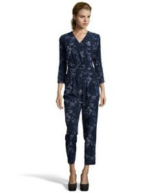 Stories...by Kelly Osbournemidnight blue stretch floral printed long sleeve jumpsuit