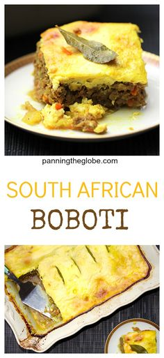 Bobotie is South Africa's incredibly delicious meat pie. It's the best meatloaf ever - curried ground lamb and beef topped with savory egg custard. South African Dishes, South African Recipes, Africa Recipes, Savoury Dishes, Food Dishes, Best Meatloaf, National Dish, Nigerian Food, Brunch