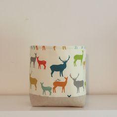 Nursery Storage Basket Deer by acraftyhen on Etsy