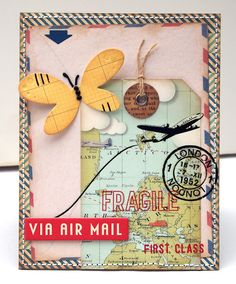 map tag; airmail; butterfly/bird?' airmail envelope; Jo Kill