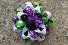 Disney Hair Bow Loopy hair bow Minnie Mouse Hair Bow hair clip in white, purple and green