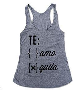 Woman, Everfitte Hand-screened Eco-tank, Te: Amo Quila Grey Eco Tank