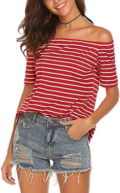 Naggoo Women Sexy Off The Shoulder Striped Blouse Short Sleeve Casual  Pleated Tops Tee at Amazon f5c36c7df9ac