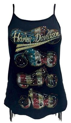 Harley-Davidson® Women's Bird of Prey Embellished Relaxed Shell Mesh Tank Top Harley Davidson Flags, Harley Davidson Tank Tops, Harley Shirts, Harley Gear, Harley Davidson Womens Clothing, Harley Davidson Merchandise, Women's Clothing, Biker Wear, Vestidos