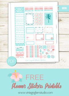 Free Printable Cool Tropical Planner Stickers from Vintage Glam Studio