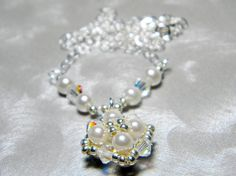 Audrey Cream Glass Pearl and Swarovski Crystal AB Necklace by WhimsyBeading, $35.00