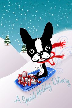 Boston Terrier Holiday Christmas card collection by onesmalldog