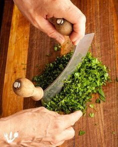 To chop up the fines herbes (chives, chervil, tarragon, and parsley) Michaela insisted on using our vintage mezzaluna knife. Gefilte Fish Recipe, Fish Patties, Matzo Meal, Jewish Recipes, Fried Fish, Parsley, Jelly, Food Processor Recipes, Fries
