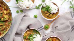 Frango Kerala é delicioso bem temperado e apimentado para um almoço.