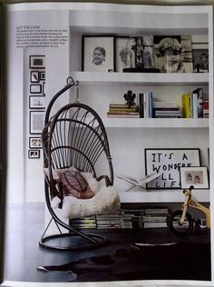 Office Ideas...  I've never considered bringing in my Hanging Basket Chair...Hmmmm...