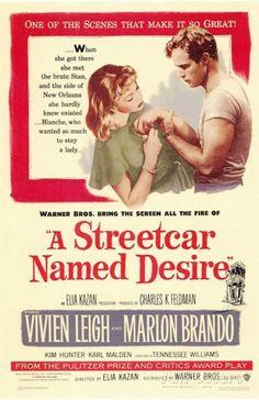 """A Streetcar Named Desire"" / Director: Elia Kazan / Writers: Tennessee Williams (screen play), Oscar Saul (adaptation) / Stars: Vivien Leigh, Marlon Brando, Kim Hunter Cinema Tv, Films Cinema, I Love Cinema, Vivien Leigh, Janet Leigh, Marlon Brando, Classic Movie Posters, Classic Movies, Film Posters"