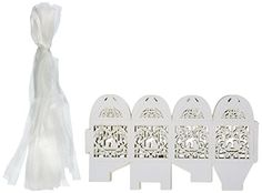 50 Pack White Love Birds Laser Cut Favor Candy Box Bombon...