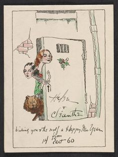Citation: Holiday card depicting Helen and Cleanthe Carr, 194-? . Alfred J. Frueh papers, Archives of American Art, Smithsonian Institution.