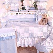 Prince Blue and White Classic Boy Patchwork 4 Piece Crib Bedding Set