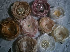 Small fabric flowers hair flowers hair accessories by Flowears, $5.50