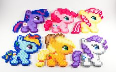 My Little Pony Magnets // My Little Pony Perler Bead // MLP Perler by NostalgiaPerler on Etsy