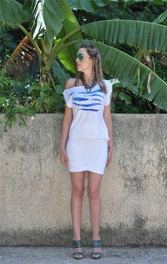 White Loose fit tshirt High Low Hem tounic Zebra by NikiZaimi, $58.00