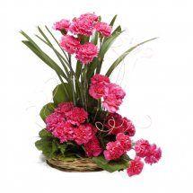 20 Pink Carnations basket