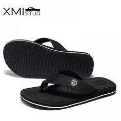 XMISTUO British style men shoes Cool Men Flip Flops for loose-fitting men  beach slippers 1c8095667