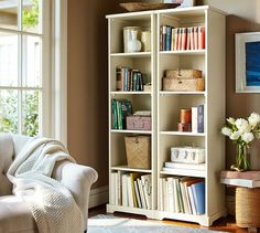 Samantha Narrow Bookcase | Pottery Barn: If you would prefer a less expensive version of the Shutter Cabinets, these could be a good alternative.