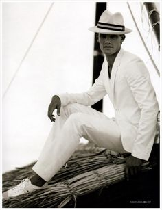 """menofhabit: """" So…now that it's after Memorial Day, is time to wear all white? Gq Mens Style, White Heat, All White, Memorial Day, Panama Hat, Editorial Fashion, Normcore, Memories, Mens Fashion"""