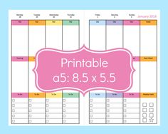 New To Commandcenter On Etsy A5 Weekly Planner Inserts Pages 8 5 X Half