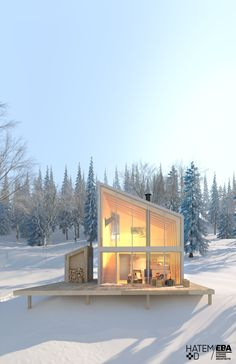 New chalets with Scandinavian inspirations in the suburbs of Quebec - Cabin - Architecture Tiny House Cabin, Tiny House Design, Cabins In The Woods, House In The Woods, Haus Am See, Building A Shed, Cabana, Modern Architecture, Drawing Architecture
