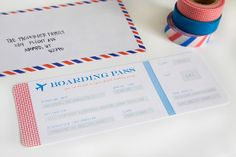 airplane party: invitations :: armelle blog :::  use washi!!! - would be cute for a Bon Voyage party, a retirement party,  etc
