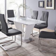 """Deska stolu:  MDF, bílý lak - vysoký lesk / + 5 mm silné bílé sklo Podnož: nohy ve tvaru """"V"""", MDF, bílý lak - vysoký lesk Podstava: nerez broušený Rozkládací deska stolu se synchronní výklopnou vložkou 60 cm v bílém laku - vysokém lesku Š/V/H: 160(220)/76/90 cm Dining Chairs, Dining Room, Extendable Dining Table, New Homes, House Design, Desk, Interior Design, Furniture, Home Decor"""