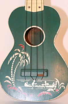 Vintage 1950s HAWAIIAN UKULELE Tourist Model Painted Green By Harmony Chicago
