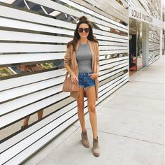 Denim cut off shorts and suede booties