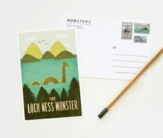 Lochness Monster Postcard 1pc. $3.00, via Etsy.