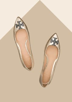 CROSS symbol, always loved by designers: Tory Burch Metallic shoes Shoe Boots, Shoes Sandals, Flat Shoes, Fendi, Dior, Phillip Lim, Metallic Flats, Stuart Weitzman, Shoe Gallery