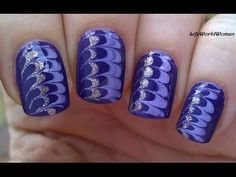 Drag Marble In Gold And Purple: Today's nail art video is an easy needle nail art tutorial, gold and purple marble nails. Marble Nail Art, Gel Nail Art, Gold Marble, Purple Marble, Nail Polish, Stylish Nails, Trendy Nails, Toothpick Nail Art, Jolie Nail Art
