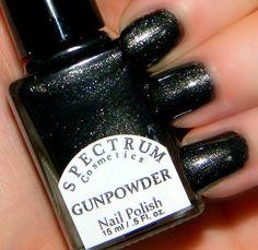 GUNPOWDER Black Nail Polish with Fine Silver by SpectrumCosmetic, $8.50
