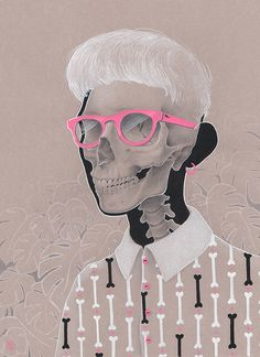 """Madrid based illustrator, Vero Navarro is a colored pencil master. She skillfully combines colored pencil with digital techniques. Her illustrations are delightful and clever as you can see in this piece titled, """"Hipster Bones."""""""
