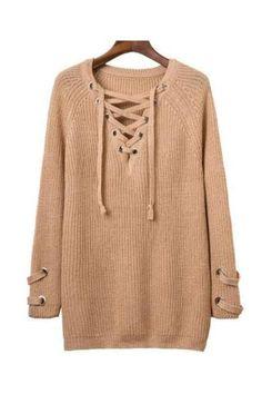 Lace Up V Neck Tan Knit Sweater