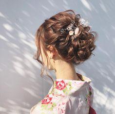Kawaii Hairstyles, Cute Hairstyles, Wedding Hairstyles, Fries, Hair Arrange, Japanese Landscape, Hair Setting, Japanese Hairstyle, Yukata